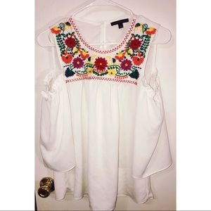 Embroidered Open Shoulder Top